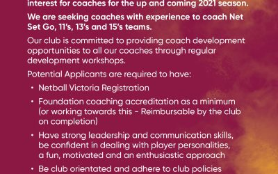 Coaches wanted for 2021!
