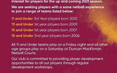 Players wanted for 2021!